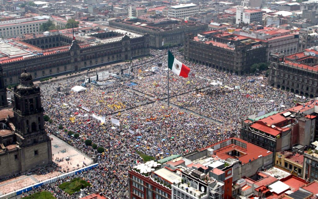 Birds eye view of Zocalo in Mexico City