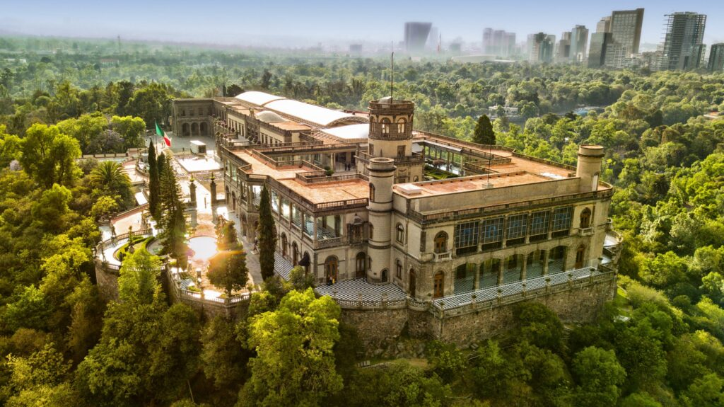 Birds eye view of Chapultepec Castle in Mexico City