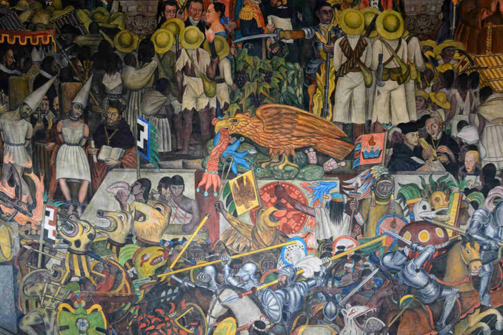 One of Diego Rivera Murals in Mexico City