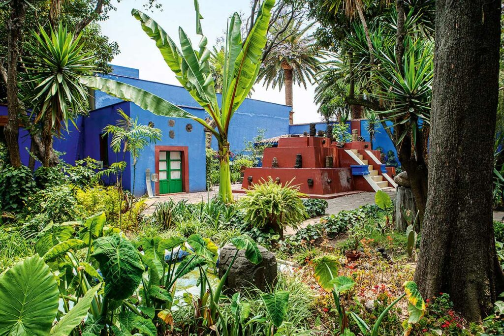 Garden view of the Casa Azul of Frida Kahlo Museum