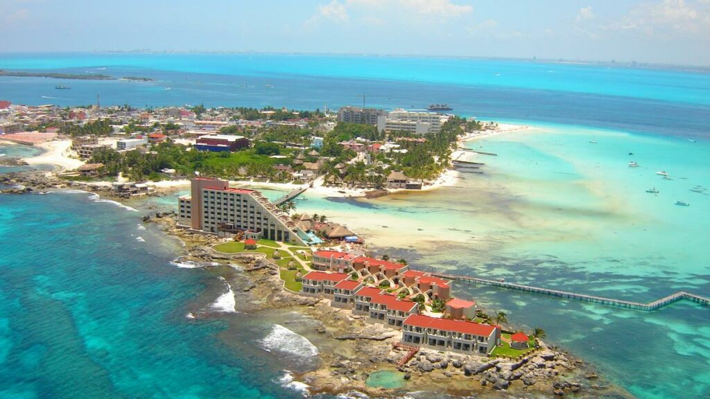 Aerial View of Isla Mujeres near Cancun Mexico