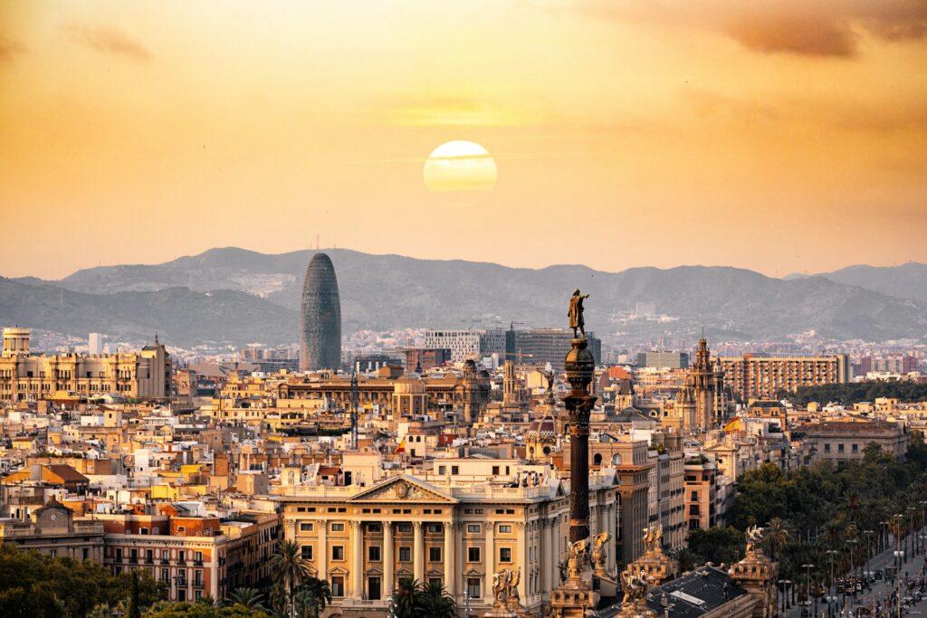Sunset in Barcelona Catalonia Spain